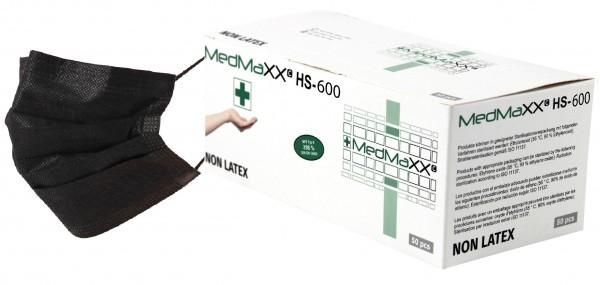 MedMaXX HS-600E-SC 3-lagige OP Maske Typ II EN 14683 schwarz 50 Stück