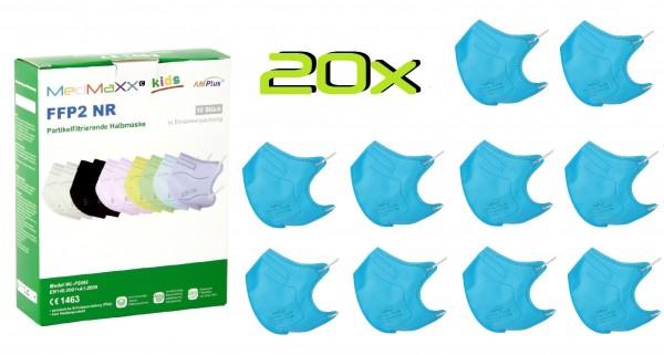 20x MedMaXX FFP2 NR Atemschutzmaske Größe S, auch für Kinder geeignet, blau