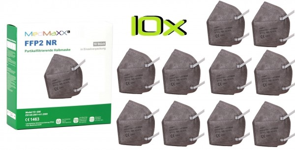 10x MedMaXX FFP2 NR Atemschutzmaske Größe XS, auch für Kinder geeignet, grau