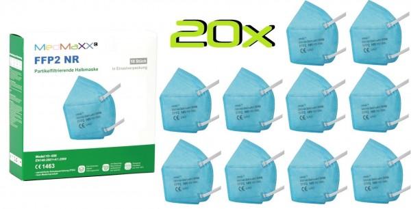 20x MedMaXX FFP2 NR Atemschutzmaske Größe XS, auch für Kinder geeignet, hellblau
