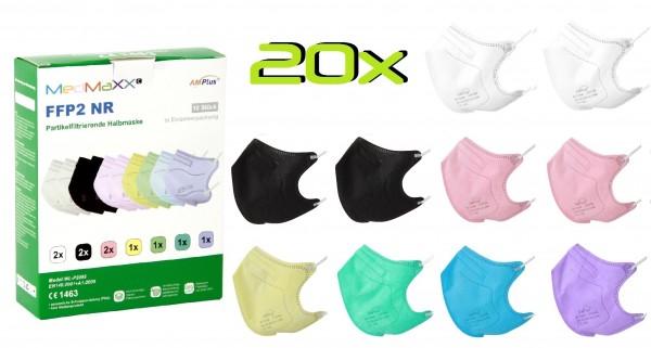 20x MedMaXX FFP2 NR Atemschutzmaske Größe S, auch für Kinder geeignet, bunt