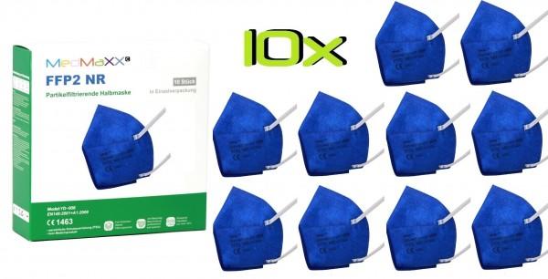 10x MedMaXX FFP2 NR Atemschutzmaske Größe XS, auch für Kinder geeignet, dunkelblau