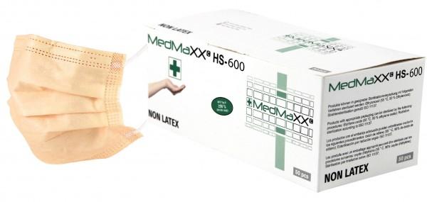 MedMaXX HS-600E-AP 3-lagige OP Maske Typ II EN 14683 apricot 50 Stück