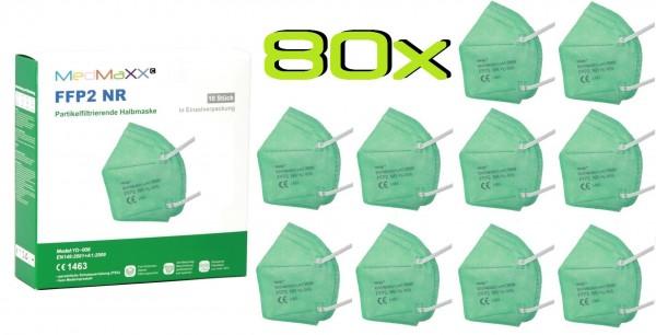 80x MedMaXX FFP2 NR Atemschutzmaske Größe XS, auch für Kinder geeignet, grün