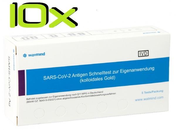 10x Watmind® SARS-COV2 Laien Antigen-Schnelltest Lutsch-Speichel ideal für die Schule