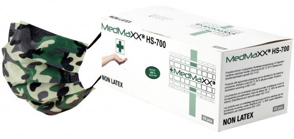 MedMaXX HS-600E-GC 3-lagige OP Maske Typ II EN 14683 grün camouflage 50 Stück