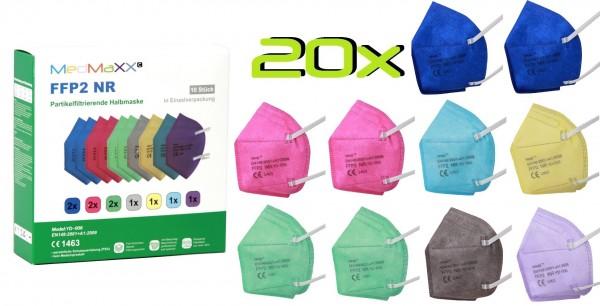 20x MedMaXX FFP2 NR Atemschutzmaske Größe XS, auch für Kinder geeignet, bunt