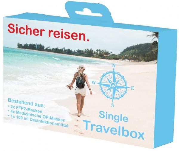 Single Travelbox Set bestehend aus: FFP2-, OP-Masken und Händedesinfektion