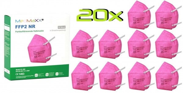 20x MedMaXX FFP2 NR Atemschutzmaske Größe XS, auch für Kinder geeignet, pink