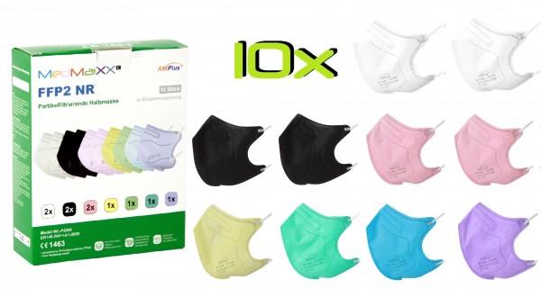 10x MedMaXX FFP2 NR Atemschutzmaske Größe S, auch für Kinder geeignet, bunt