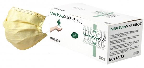 MedMaXX HS-600E-GE 3-lagige OP Maske Typ II EN 14683 gelb 50 Stück