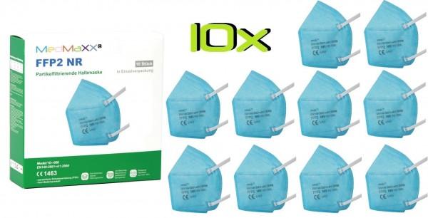 10x MedMaXX FFP2 NR Atemschutzmaske Größe XS, auch für Kinder geeignet, hellblau