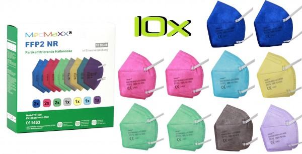 10x MedMaXX FFP2 NR Atemschutzmaske Größe XS, auch für Kinder geeignet, bunt