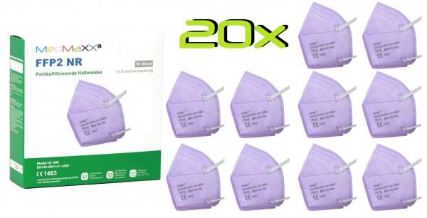 20x MedMaXX FFP2 NR Atemschutzmaske Größe XS, auch für Kinder geeignet, lila