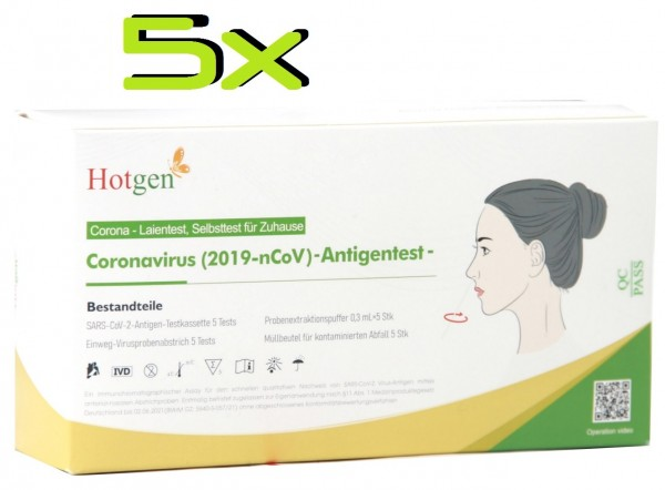 5x Hotgen COVID-19 Nasenabstrich Laien Antigen-Schnelltest