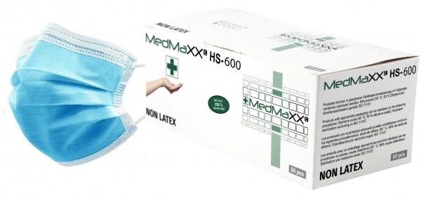 MedMaXX HS-600E-HB 3-lagige OP Maske Typ II EN 14683 hellblau 50 Stück
