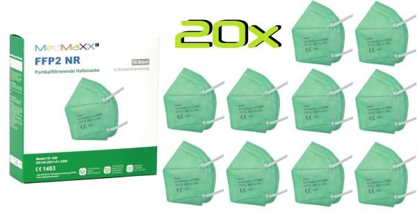20xMedMaXX FFP2 NR Atemschutzmaske Größe XS, auch für Kinder geeignet, grün