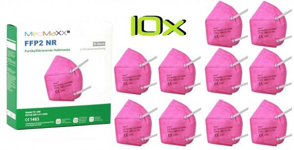 10x MedMaXX FFP2 NR Atemschutzmaske Größe XS, auch für Kinder geeignet, pink