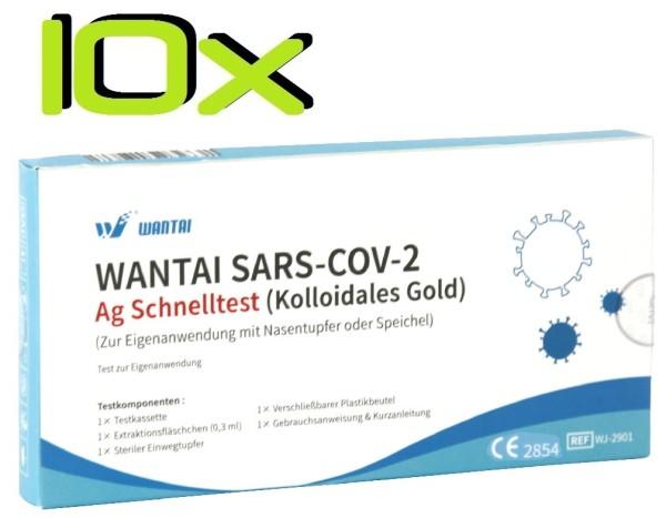 10x Wantai® SARS-COV2 Laien Antigen-Schnelltest Lutsch-Speichel oder Nasal ideal für die Schule