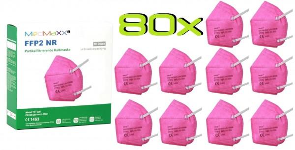 80x MedMaXX FFP2 NR Atemschutzmaske Größe XS, auch für Kinder geeignet, pink
