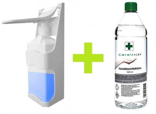 Care Desinfektionsmittelspender Druck-Spender + 1 Liter Desinfektionsmittel