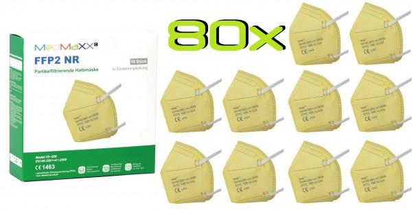 80x MedMaXX FFP2 NR Atemschutzmaske Größe XS, auch für Kinder geeignet, gelb