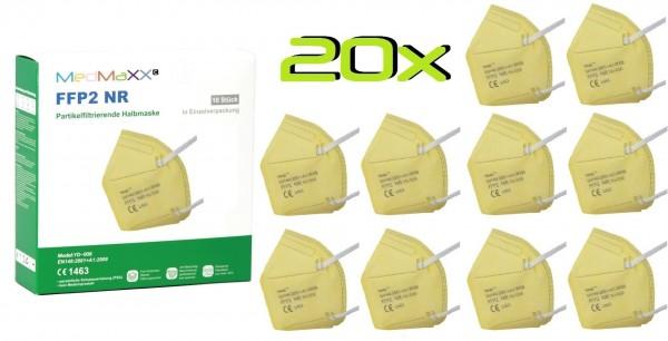 20x MedMaXX FFP2 NR Atemschutzmaske Größe XS, auch für Kinder geeignet, gelb