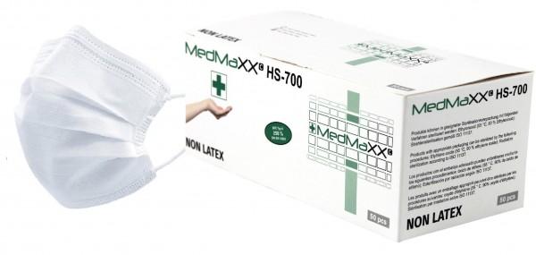 MedMaXX HS-700E-WE 3-lagige OP Maske Typ II EN 14683 weiß 50 Stück