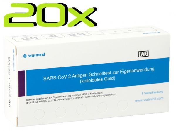 20x Watmind® SARS-COV2 Laien Antigen-Schnelltest Lutsch-Speichel ideal für die Schule