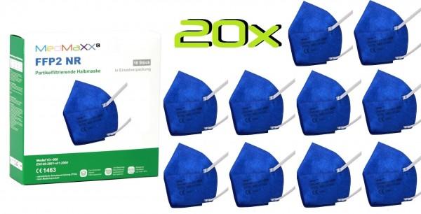 20x MedMaXX FFP2 NR Atemschutzmaske Größe XS, auch für Kinder geeignet, dunkelblau