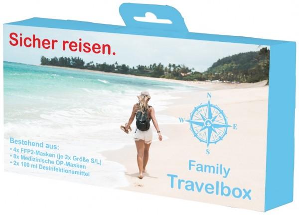 Family Travelbox Set bestehend aus: FFP2-, OP-Masken und Händedesinfektion