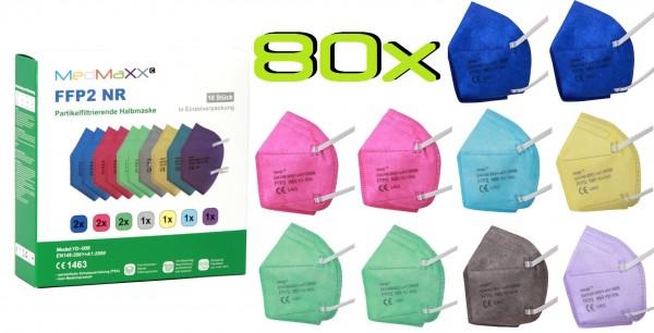 80x MedMaXX FFP2 NR Atemschutzmaske Größe XS, auch für Kinder geeignet, bunt