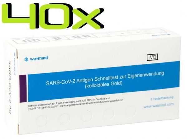 40x Watmind® SARS-COV2 Laien Antigen-Schnelltest Lutsch-Speichel ideal für die Schule