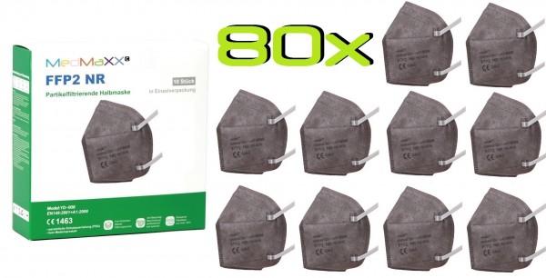 80x MedMaXX FFP2 NR Atemschutzmaske Größe XS, auch für Kinder geeignet, grau