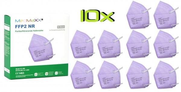 10x MedMaXX FFP2 NR Atemschutzmaske Größe XS, auch für Kinder geeignet, lila