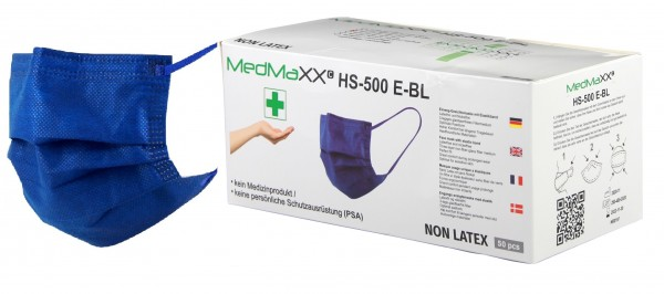 MedMaXX HS-500E-BL 3-lagige Community Gesichtsmasken blau 50 Stück