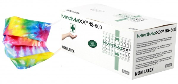 MedMaXX HS-600E-BU 3-lagige OP Maske Typ II EN 14683 bunt 50 Stück