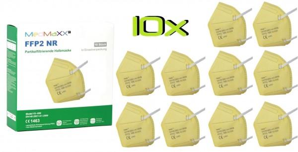 10x MedMaXX FFP2 NR Atemschutzmaske Größe XS, auch für Kinder geeignet, gelb