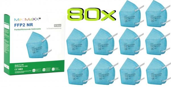 80x MedMaXX FFP2 NR Atemschutzmaske Größe XS, auch für Kinder geeignet, hellblau